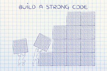 troubleshoot: building a strong code: men lifting blocks with lines of binary code, metaphor illustration