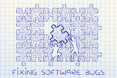 troubleshoot: fixing software bugs: men lifting piece of jigsaw puzzle with messy binary code to fill a gap, metaphor illustration about software development and fixing bugs Stock Photo