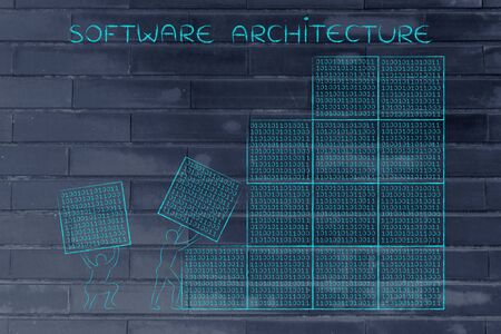 troubleshoot: software architecture: men lifting blocks with lines of binary code, metaphor illustration Stock Photo