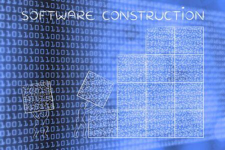 troubleshoot: software construction: men lifting blocks with messy binary code, metaphor illustration Stock Photo