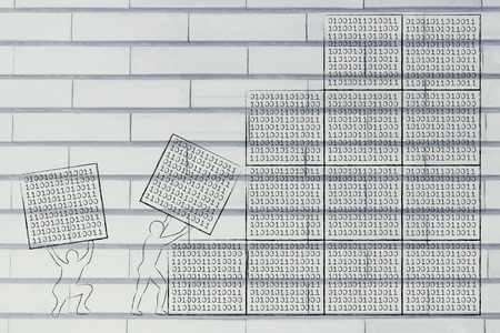 debug: men lifting blocks with binary code, metaphor illustration about software development and archtecture Stock Photo