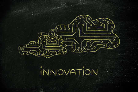 circuitos electronicos: innovation: clouds made of electronic circuits like microchips, concept of remote online storage