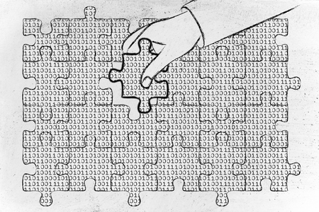 debug: hand inserting missing piece of jigsaw puzzle with lines of binary code to fill a gap, metaphor illustration about software development and fixing bugs