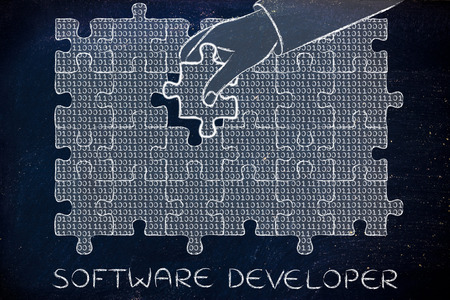 troubleshoot: software developer: hand inserting missing piece of jigsaw puzzle with lines of binary code to fill a gap, metaphor illustration about software development and fixing bugs