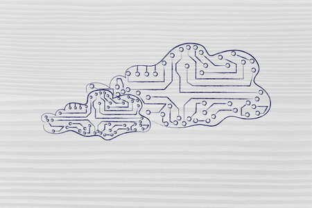 circuitos electronicos: clouds made of electronic circuits like microchips, concept of remote online storage Foto de archivo