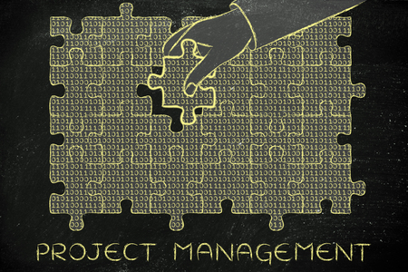 elaboration: project management: hand inserting missing piece of jigsaw puzzle with lines of binary code to fill a gap, metaphor illustration about software development and fixing bugs