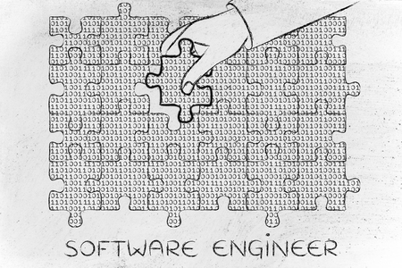 troubleshoot: software engineer: hand inserting missing piece of jigsaw puzzle with lines of binary code to fill a gap, metaphor illustration about software development and fixing bugs