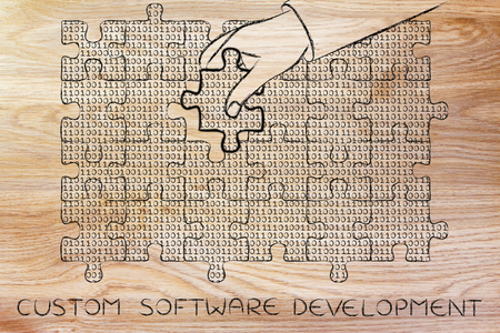 troubleshoot: custom software development: hand inserting missing piece of jigsaw puzzle with lines of binary code to fill a gap, metaphor illustration about software development and fixing bugs
