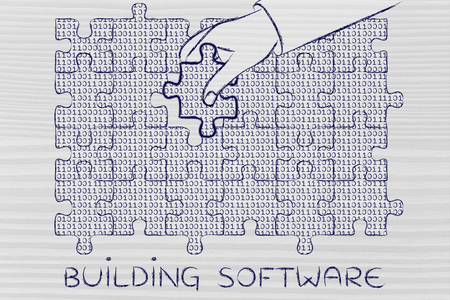 troubleshoot: building software: hand inserting missing piece of jigsaw puzzle with lines of binary code to fill a gap, metaphor illustration about software development and fixing bugs Stock Photo