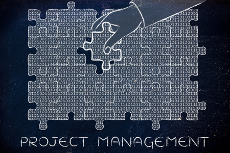 troubleshoot: project management: hand inserting missing piece of jigsaw puzzle with lines of binary code to fill a gap, metaphor illustration about software development and fixing bugs