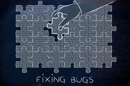 troubleshoot: fixing bugs: hand inserting missing piece of jigsaw puzzle with lines of binary code to fill a gap, metaphor illustration about software development and fixing bugs Stock Photo