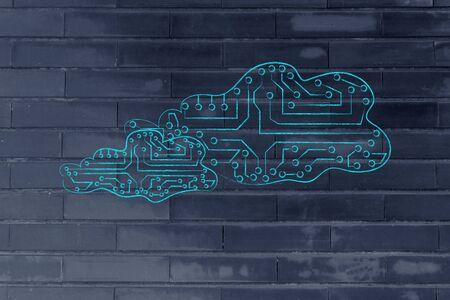 circuitos electronicos: nubes hechas de circuitos electr�nicos, como microchips, el concepto de almacenamiento en l�nea a distancia Foto de archivo
