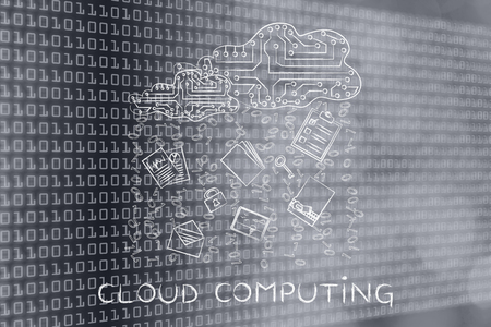 remote server: cloud computing: electronic circuit cloud with documents, folders and binary code rain