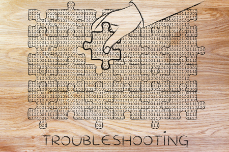 debug: troubleshooting: hand inserting missing piece of jigsaw puzzle with lines of binary code to fill a gap, metaphor illustration about software development and fixing bugs