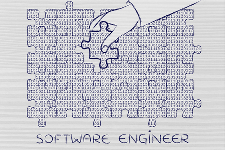 debug: software engineer: hand inserting missing piece of jigsaw puzzle with lines of binary code to fill a gap, metaphor illustration about software development and fixing bugs