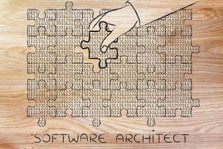 troubleshoot: software architect: hand inserting missing piece of jigsaw puzzle with lines of binary code to fill a gap, metaphor illustration about software development and fixing bugs