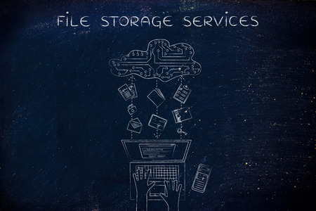 transferring: file storage services: laptop user transferring folders, photos, documents to a cloud made of electronic circuits, flat illustration Stock Photo