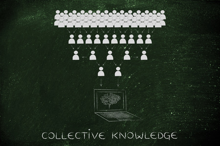 elaboration: collective knowledge: crowd of people sharing knowledge online and computer with electonic brain collecting it all