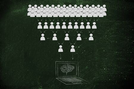 elaboration: crowd of people sharing knowledge online and computer with electonic brain collecting it all