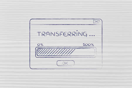remote server: pop-up window with transferring message and progress bar, flat outline illustration
