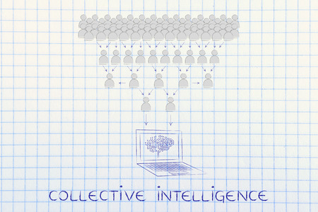 aggregation: collective intelligence: crowd of people sharing knowledge online and computer with electonic brain collecting it all