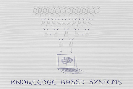 bases: knowledge bases systems: crowd of people sharing knowledge online and computer with electonic brain collecting it all Stock Photo