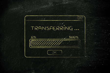 popup: pop-up window with transferring message and progress bar, flat outline illustration