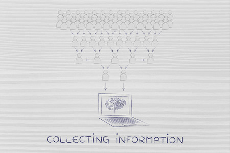 aggregation: collecting information: crowd of people sharing knowledge online and computer with electonic brain collecting it all Stock Photo