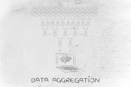 aggregation: data aggregation: crowd of people sharing knowledge online and computer with electonic brain collecting it all Stock Photo