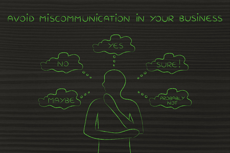 miscommunication: avoid miscommunication in your business: thoughtful customer confused about the communication he received