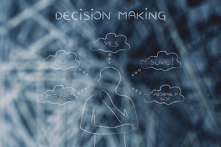 unsecure: decision making: thoughtful man thinking about alternative choices and decisions Stock Photo