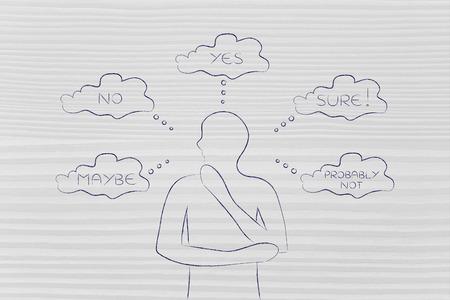 homme réfléchi à penser à des choix et des décisions alternatives