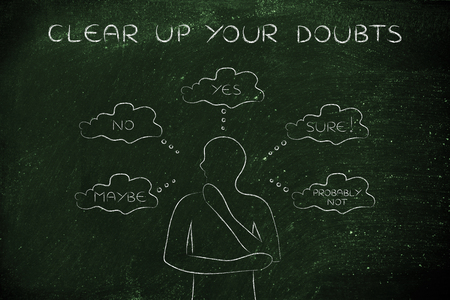 decisionmaking: clear up your doubts: thoughtful man thinking about alternative choices and decisions