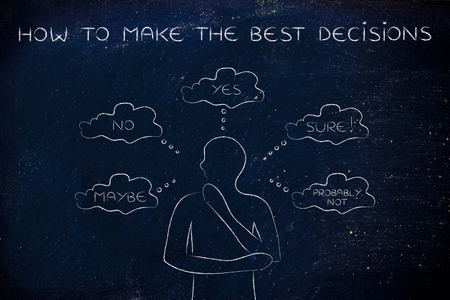 miscommunication: how to make the best decisions: thoughtful man thinking about alternative choices and decisions