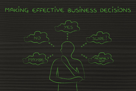 unclear: making effective business decisions: thoughtful man thinking about alternative choices and decisions