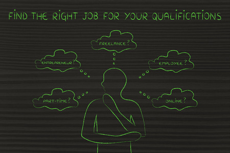 qualifications: find the right job for your qualifications: thoughtful man considering which type of jobs is the best for him (freelance, employee, online, ...)