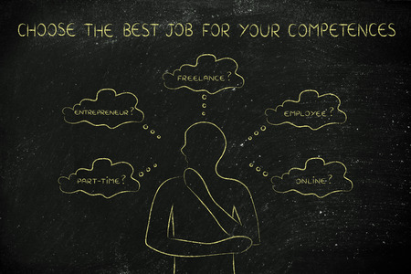 decisionmaking: find the right job for your competences: thoughtful man considering which type of jobs is the best for him (freelance, employee, online, ...)