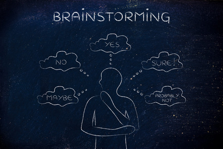 miscommunication: brainstorming: thoughtful man thinking about alternative choices and decisions