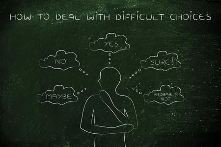miscommunication: how to deal with difficult choices: thoughtful man thinking about alternative choices and decisions