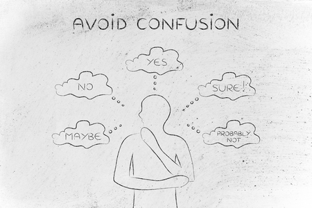 miscommunication: avoid confusion: thoughtful man thinking about alternative choices and decisions