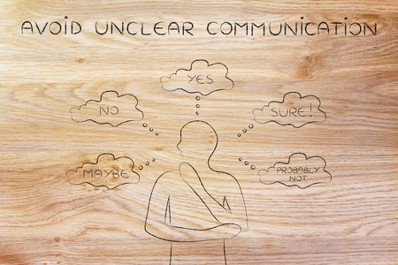 unsecure: avoid unclear communication: thoughtful customer confused about the communication he received