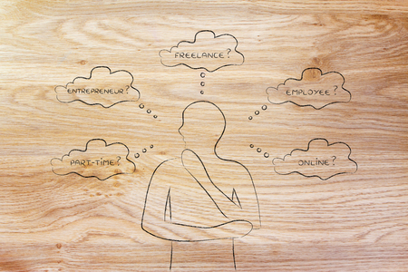 decisionmaking: thoughtful man considering which type of jobs is the best for him (freelance, employee, online, ...)