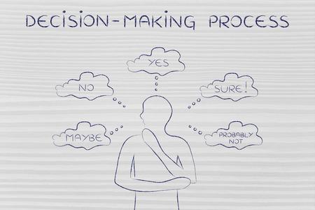 decisionmaking: decision-making process: thoughtful man thinking about alternative choices and decisions