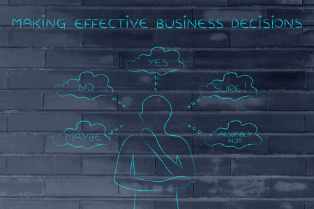 miscommunication: making effective business decisions: thoughtful man thinking about alternative choices and decisions