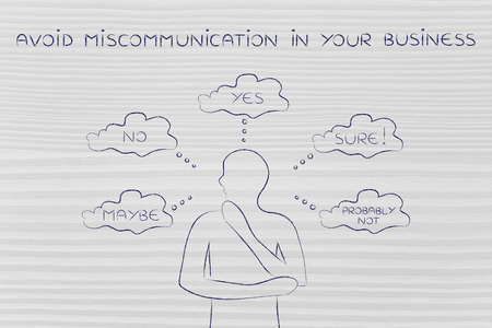 unsecure: avoid miscommunication in your business: thoughtful customer confused about the communication he received