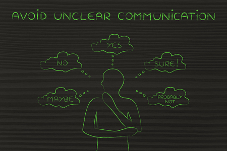 miscommunication: avoid unclear communication: thoughtful customer confused about the communication he received
