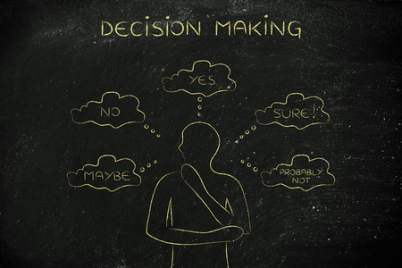 unclear: decision making: thoughtful man thinking about alternative choices and decisions Stock Photo
