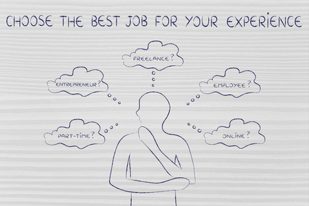 decisionmaking: choose the best job for your experience: thoughtful man considering which type of jobs is the best for him (freelance, employee, online, ...) Stock Photo