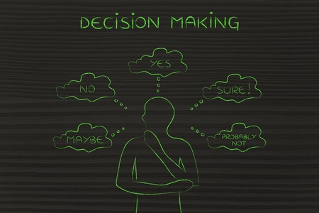 miscommunication: decision making: thoughtful man thinking about alternative choices and decisions Stock Photo