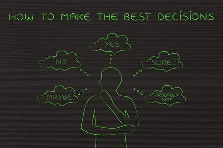 unclear: how to make the best decisions: thoughtful man thinking about alternative choices and decisions